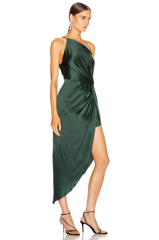 Image 2 of Michelle Mason for FWRD Twist Knot Midi Dress in Bottle