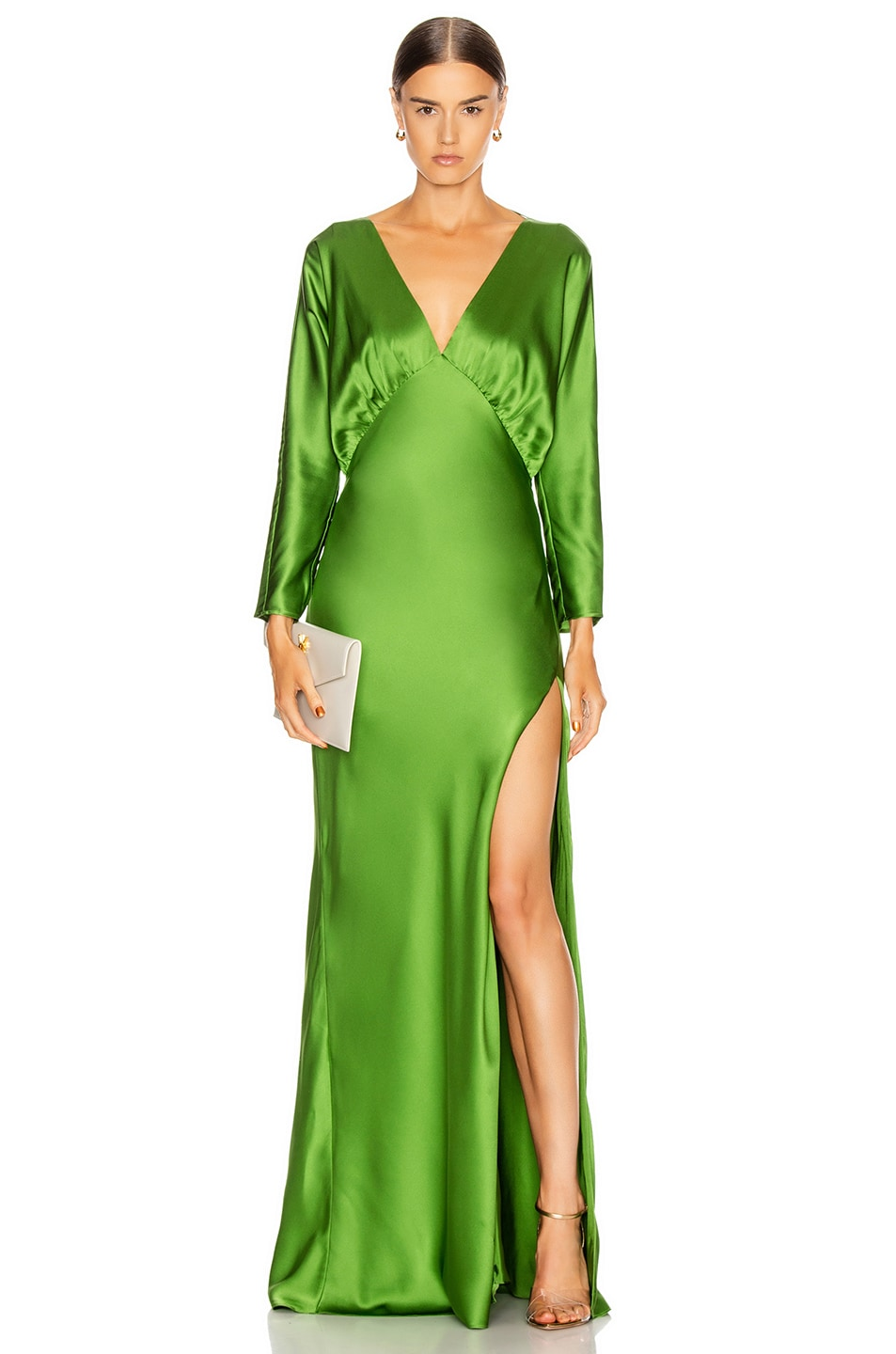 Image 1 of Michelle Mason Dolman Sleeve Gown in Clover