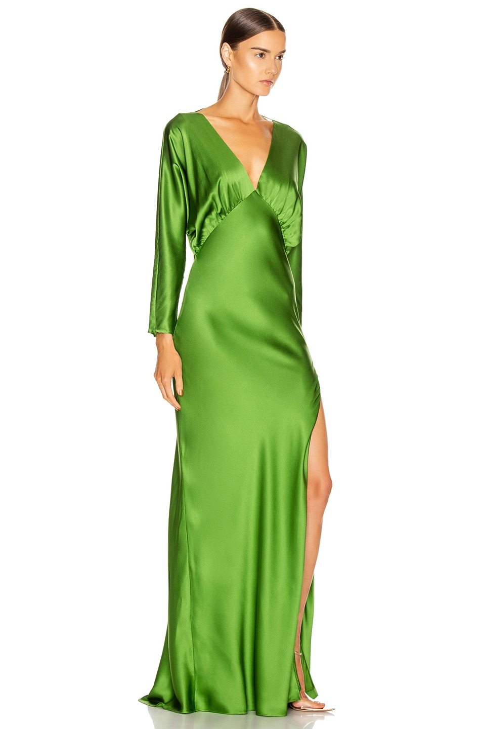 Image 2 of Michelle Mason Dolman Sleeve Gown in Clover