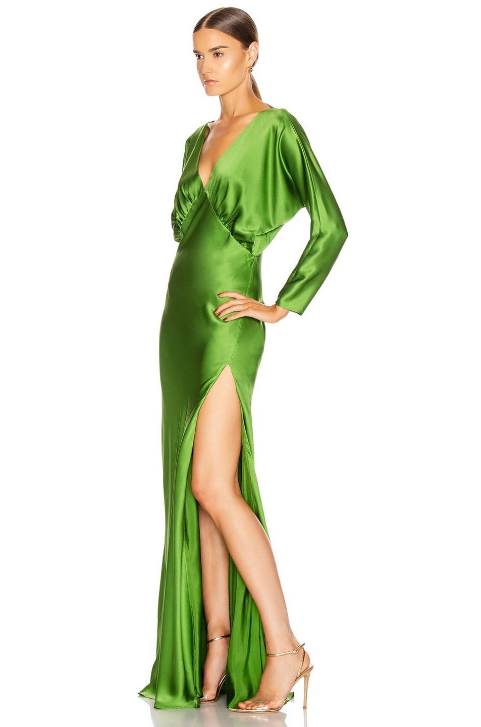 Image 3 of Michelle Mason Dolman Sleeve Gown in Clover
