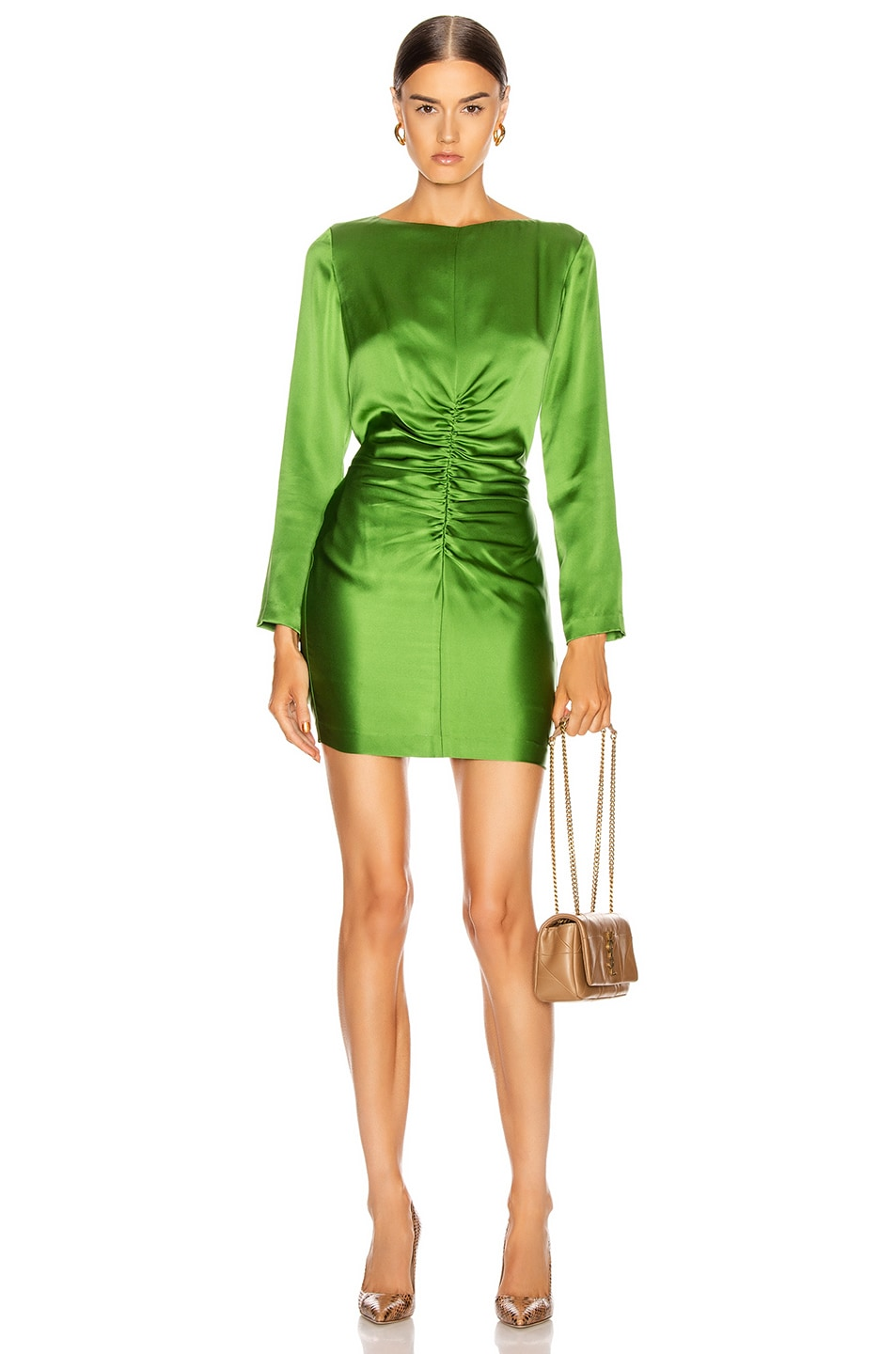 Image 1 of Michelle Mason Ruched Mini Dress in Clover