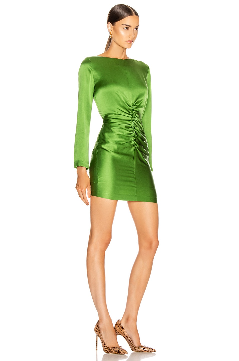 Image 2 of Michelle Mason Ruched Mini Dress in Clover