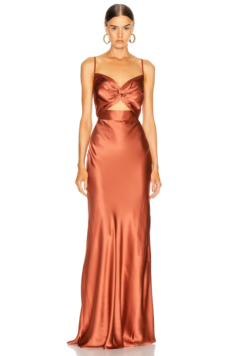 Image 1 of Michelle Mason Twist Gown in Dune
