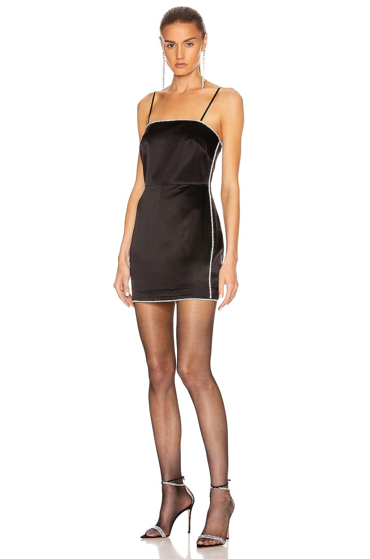 Image 1 of Michelle Mason Crystal Mini Dress in Black
