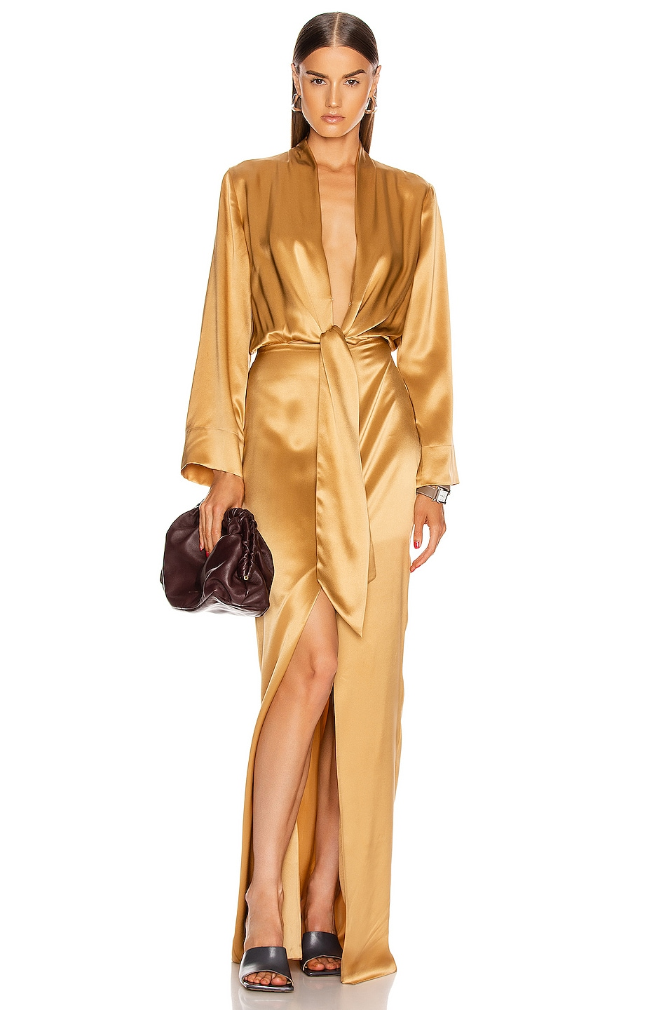 Image 1 of Michelle Mason for FWRD Kimono Tie Gown in Honey