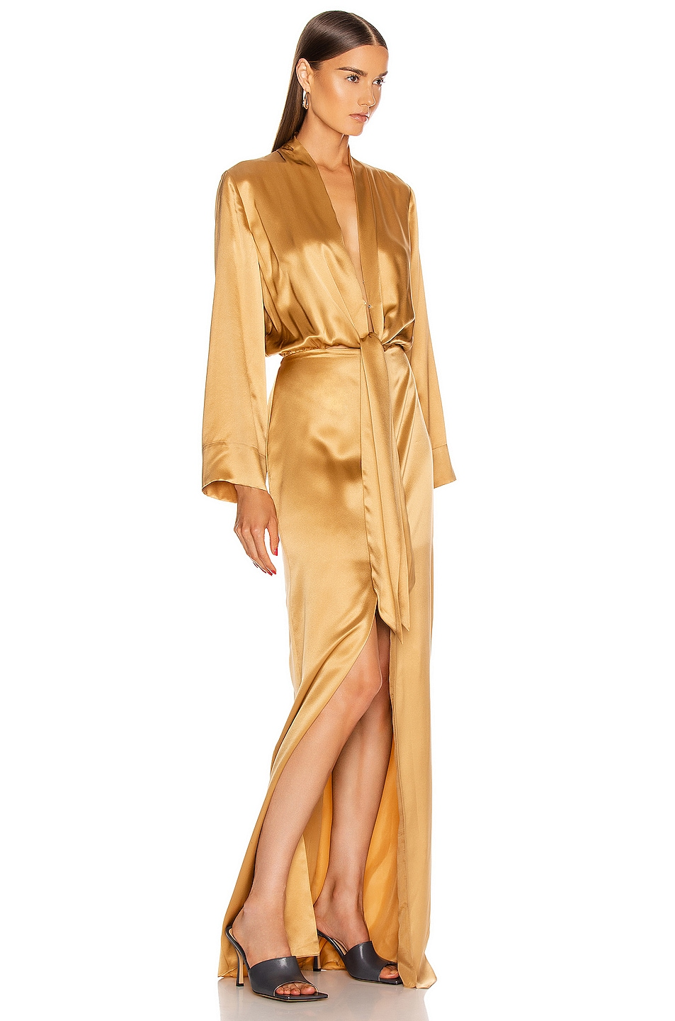 Image 2 of Michelle Mason for FWRD Kimono Tie Gown in Honey