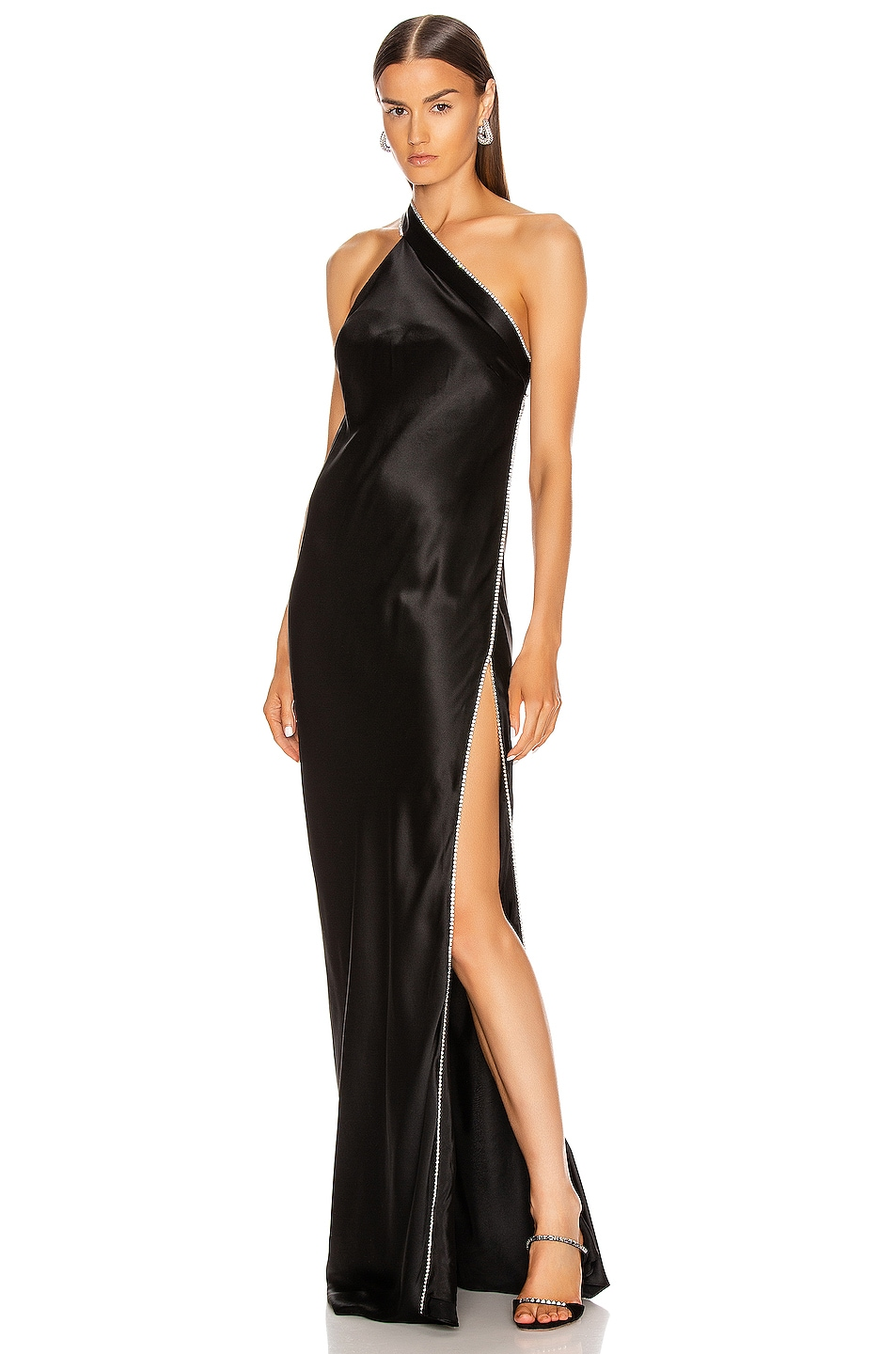 Image 1 of Michelle Mason Crystal Asymmetric Gown in Black