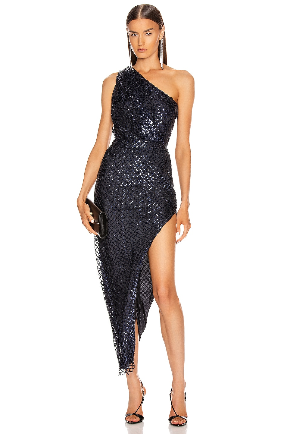 Image 1 of Michelle Mason One Shoulder Dress in Midnight
