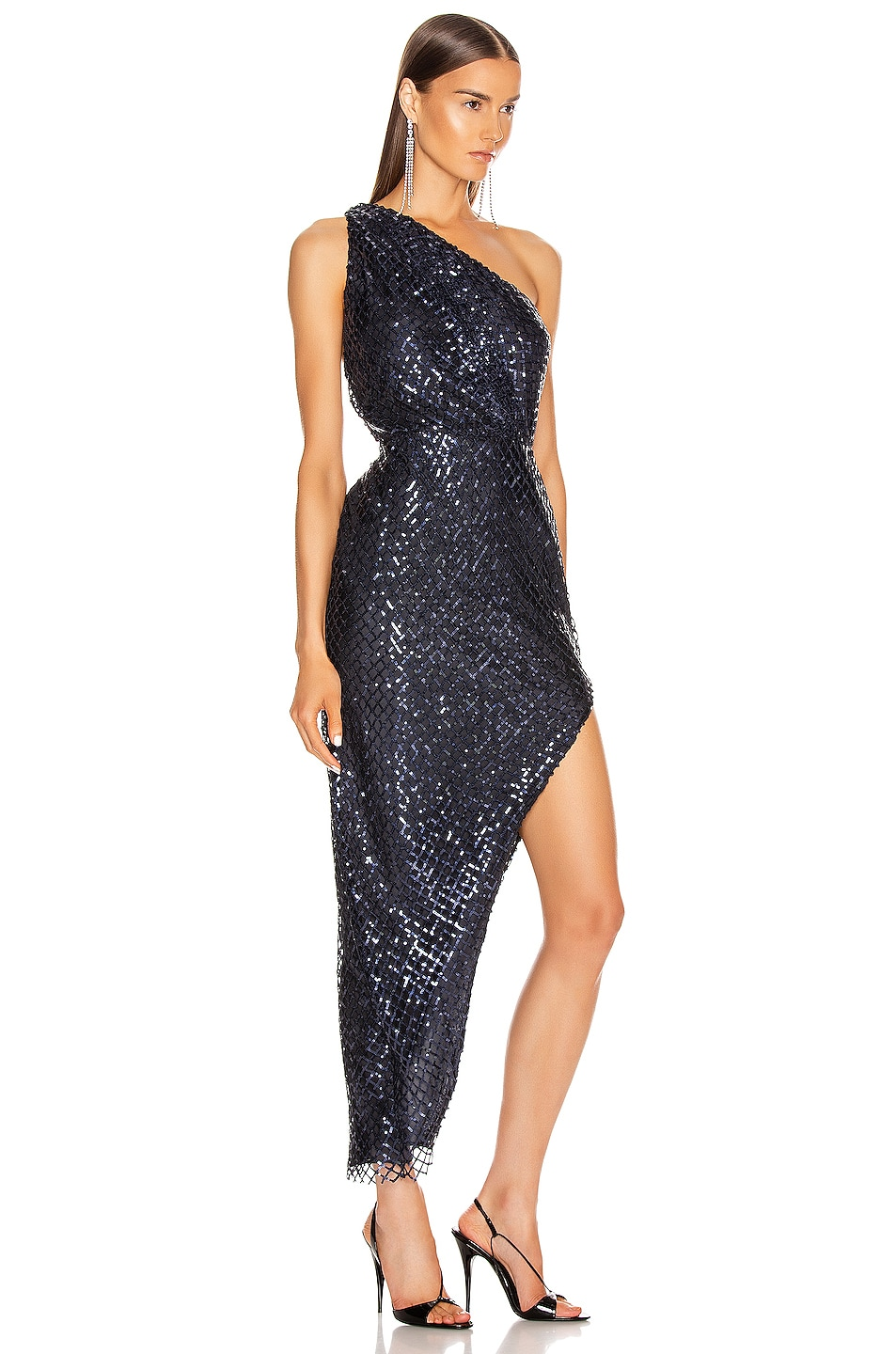 Image 2 of Michelle Mason One Shoulder Dress in Midnight