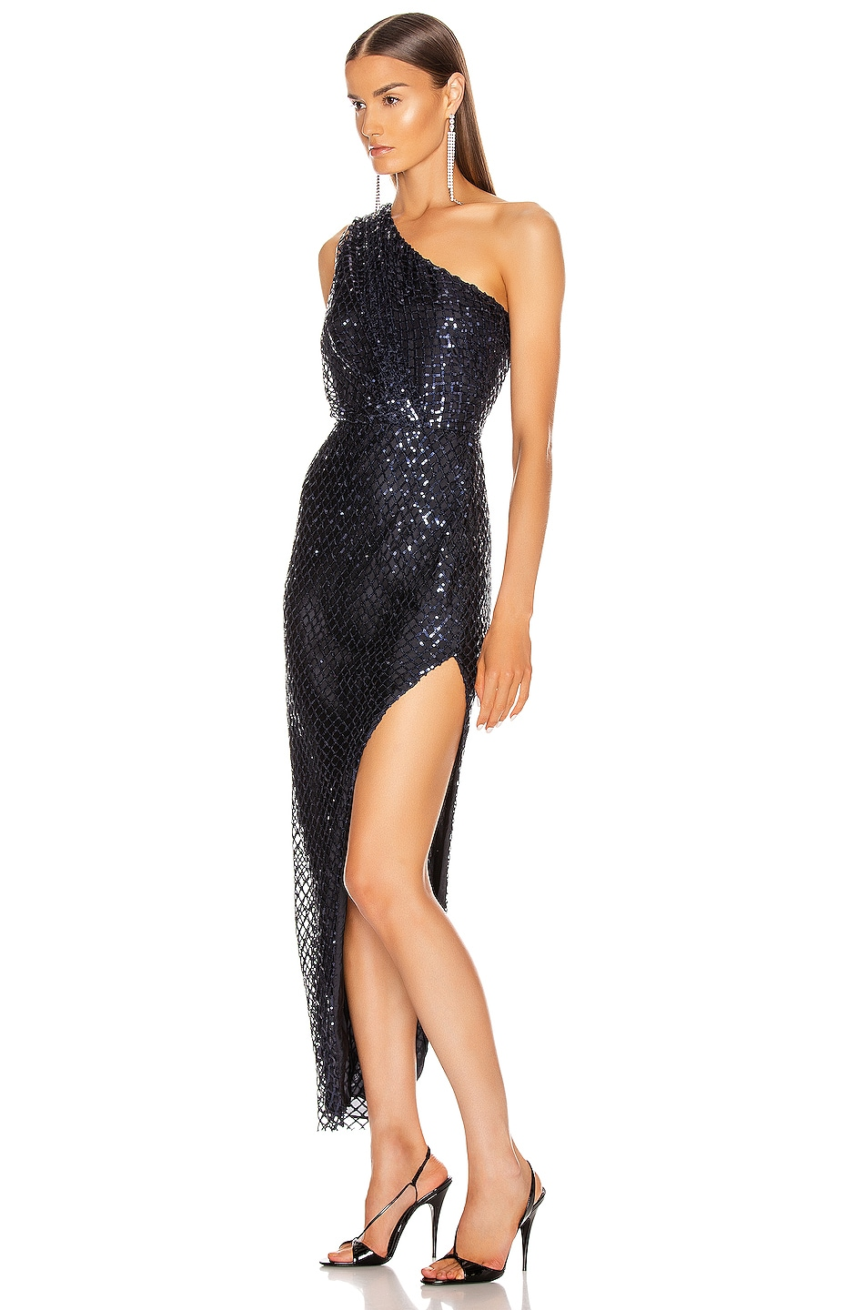 Image 3 of Michelle Mason One Shoulder Dress in Midnight