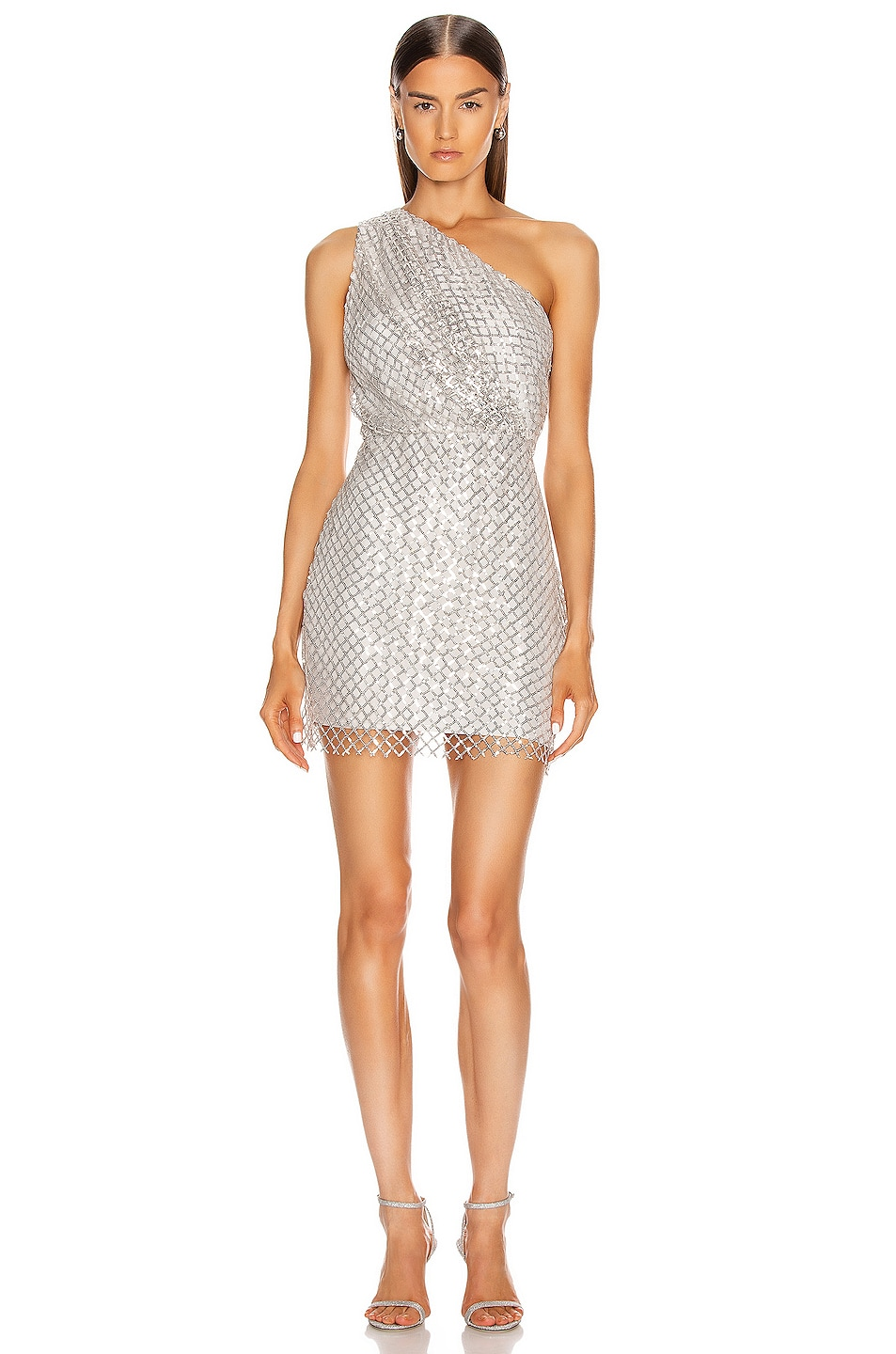 Image 1 of Michelle Mason One Shoulder Mini Dress in Platinum