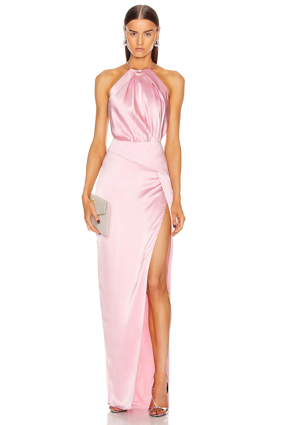 Image 1 of Michelle Mason Pleat Halter Gown With Slit in Petal