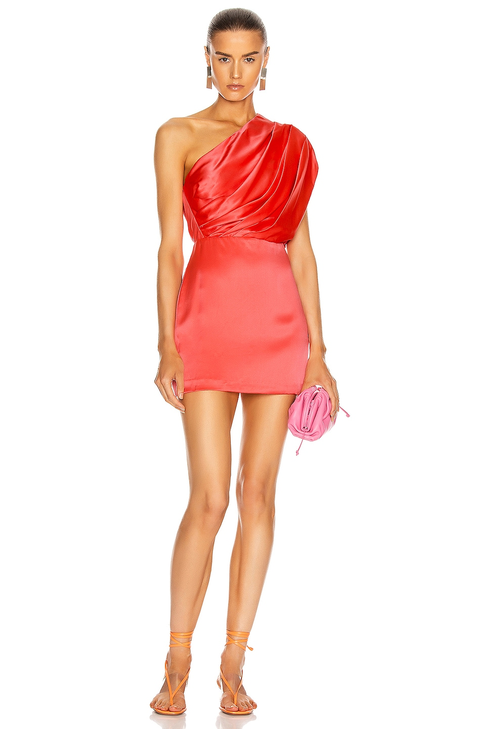 Image 1 of Michelle Mason Asymmetrical Gathered Mini Dress in Punch