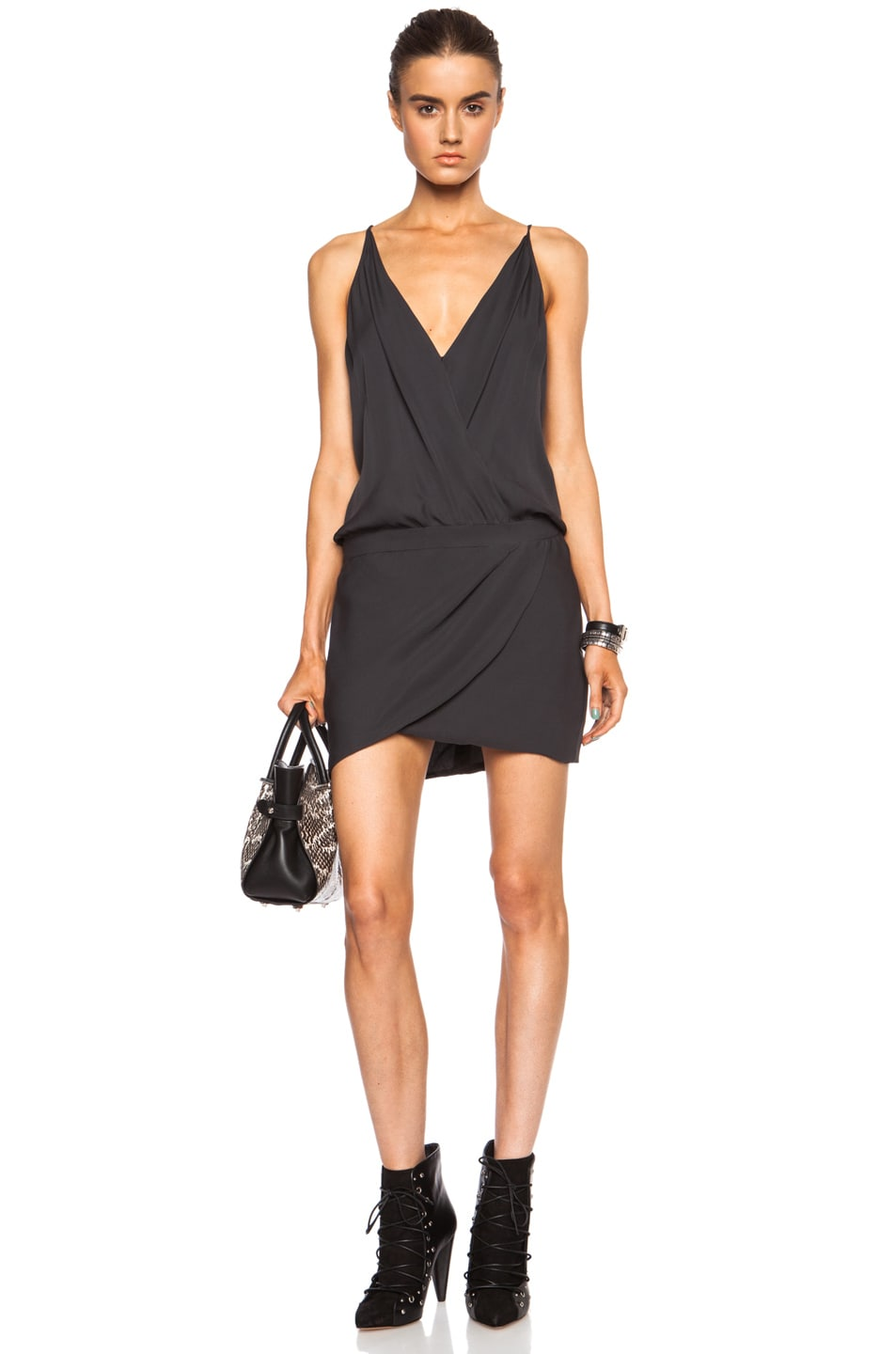 Image 1 of Mason by Michelle Mason Cami Wrap Silk Mini Dress in Charcoal