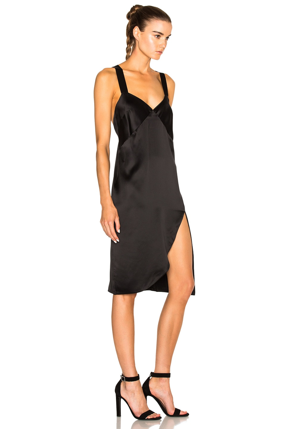 fce0ffbf4e23 Image 3 of Michelle Mason Cross Back Slip Dress in Black
