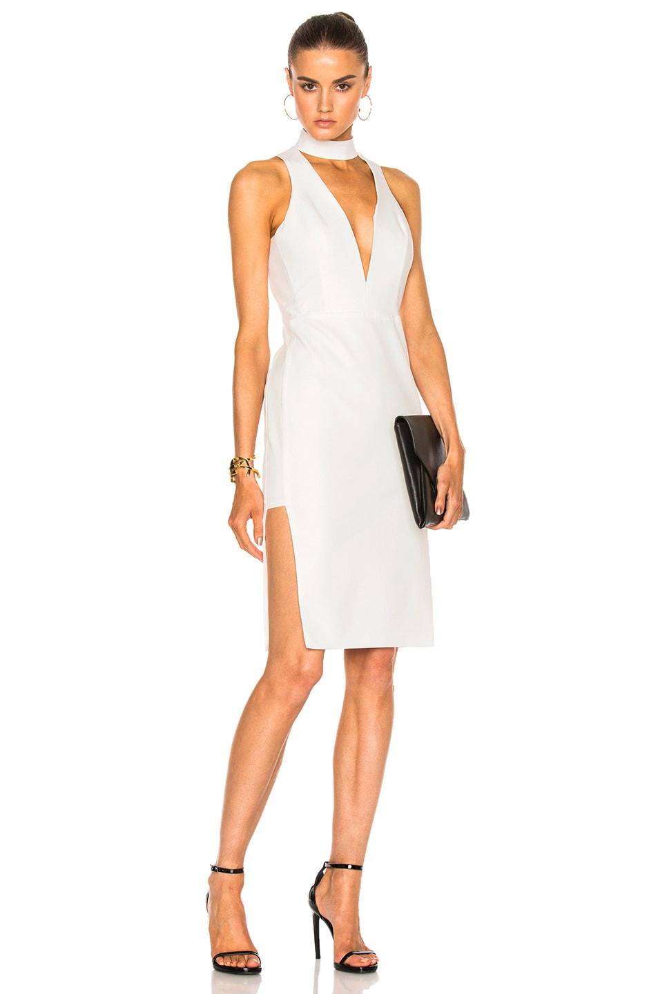 Image 1 of Michelle Mason Choker Plunge Dress in Ivory