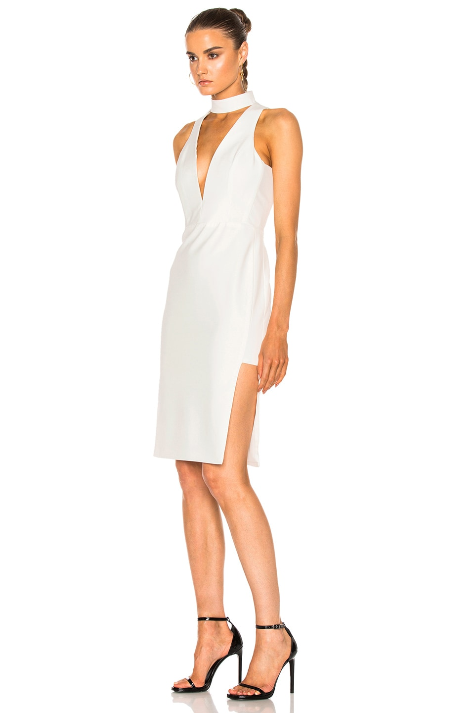 Image 2 of Michelle Mason Choker Plunge Dress in Ivory