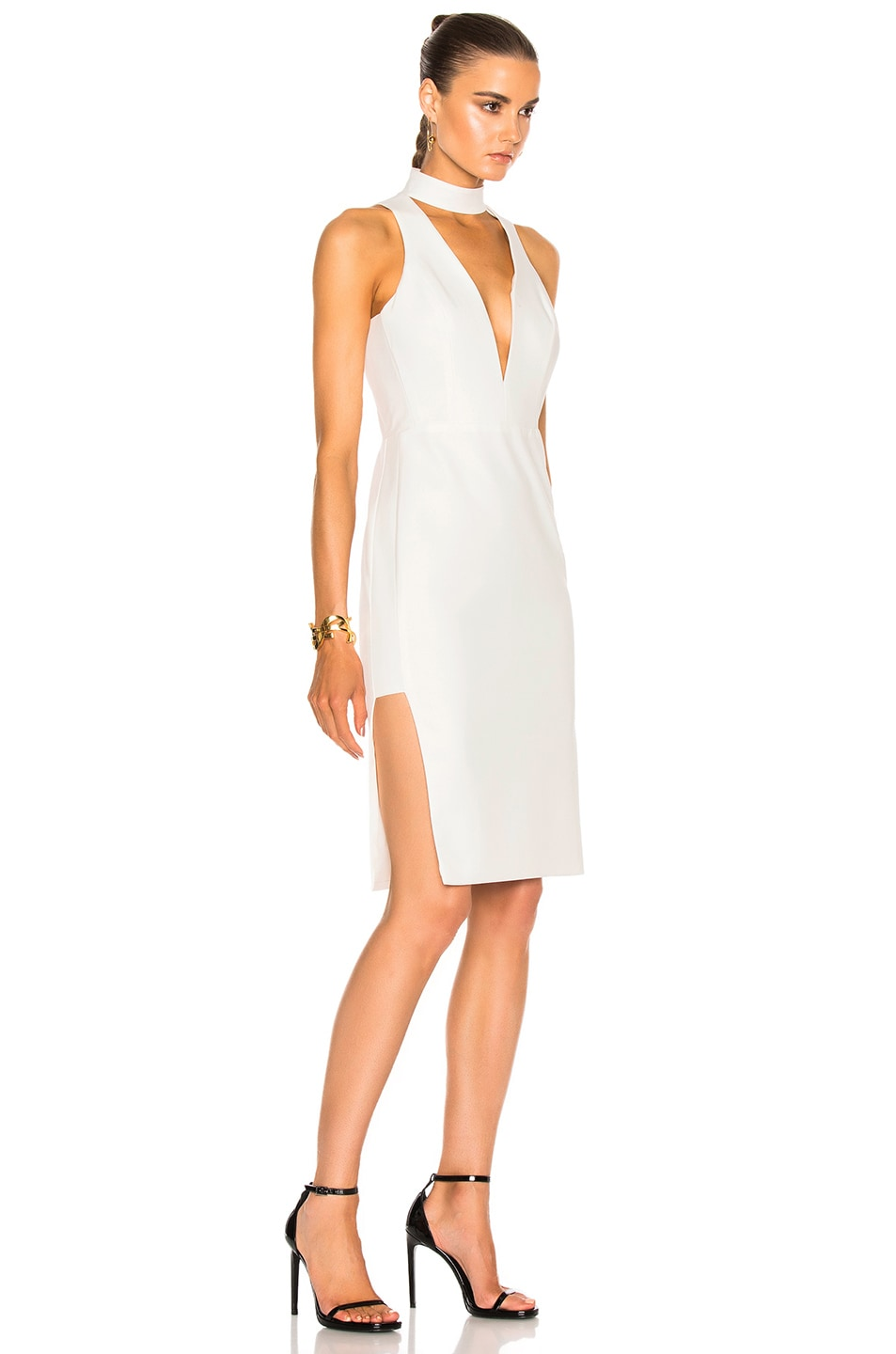 Image 3 of Michelle Mason Choker Plunge Dress in Ivory