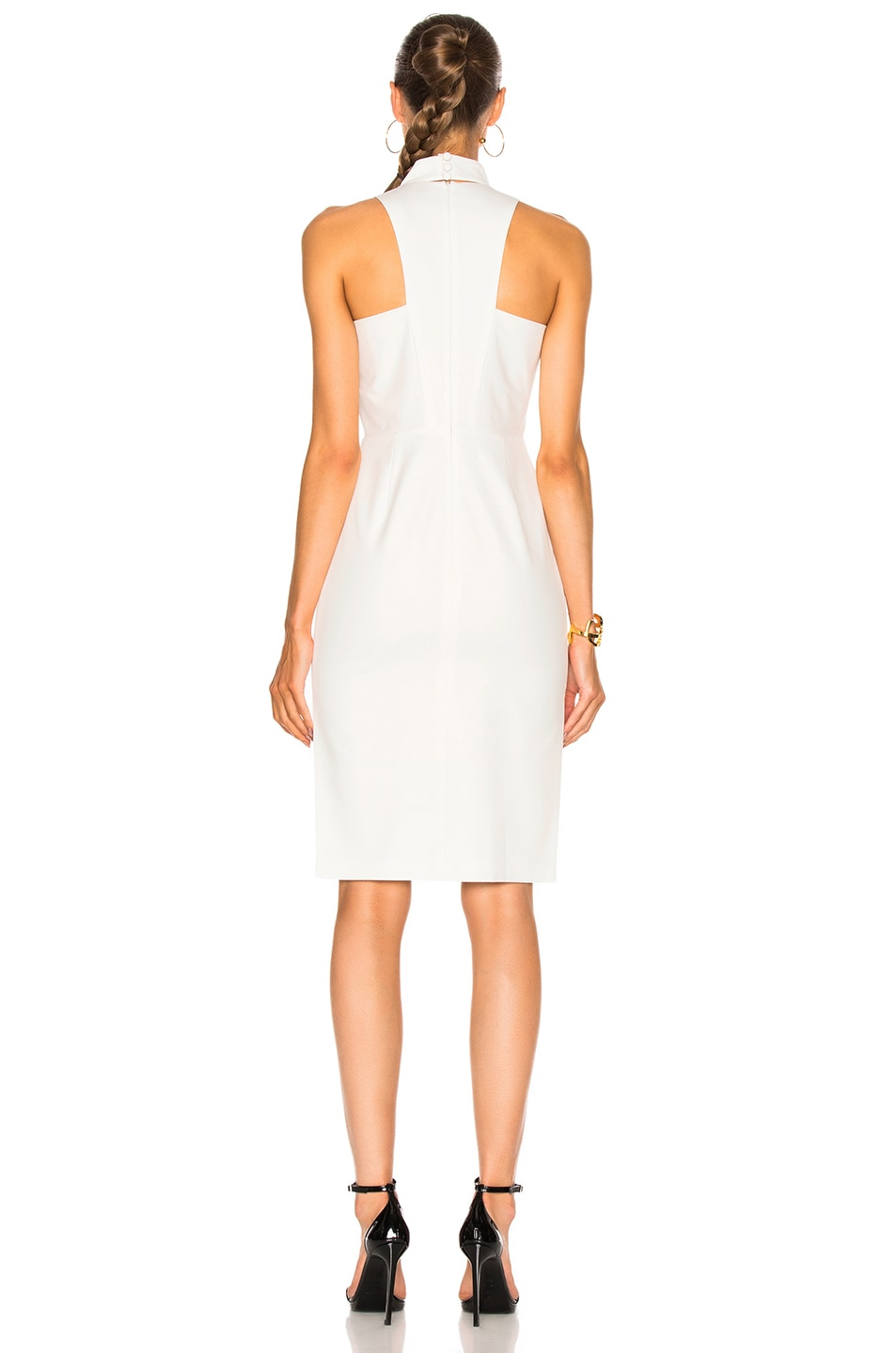 Image 4 of Michelle Mason Choker Plunge Dress in Ivory