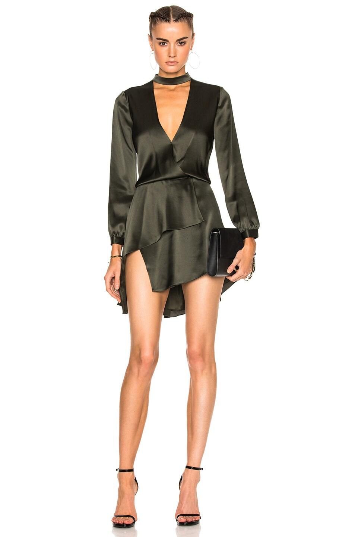 Image 1 of Michelle Mason Long Sleeve Choker Mini Dress in Hunter