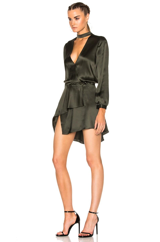 Image 2 of Michelle Mason Long Sleeve Choker Mini Dress in Hunter