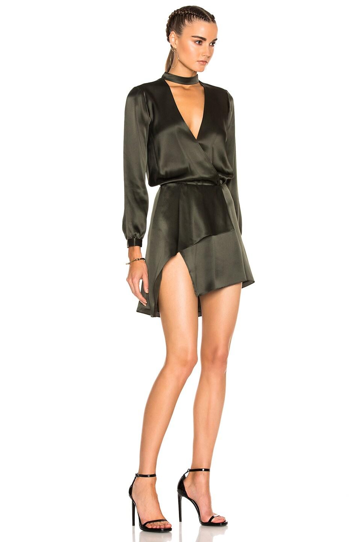 Image 3 of Michelle Mason Long Sleeve Choker Mini Dress in Hunter