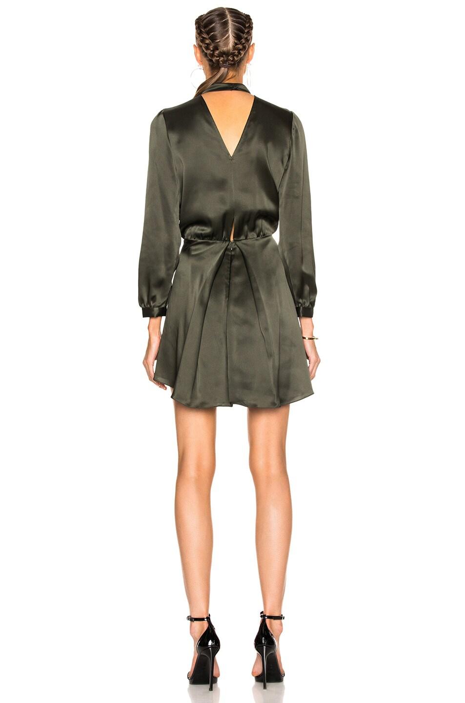 Image 4 of Michelle Mason Long Sleeve Choker Mini Dress in Hunter