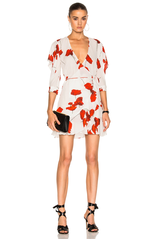 Image 1 of Michelle Mason Flutter Sleeve Wrap Mini Dress in Poppy Print