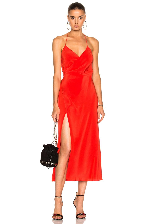 Image 1 of Michelle Mason Strappy Wrap Midi Dress in Poppy