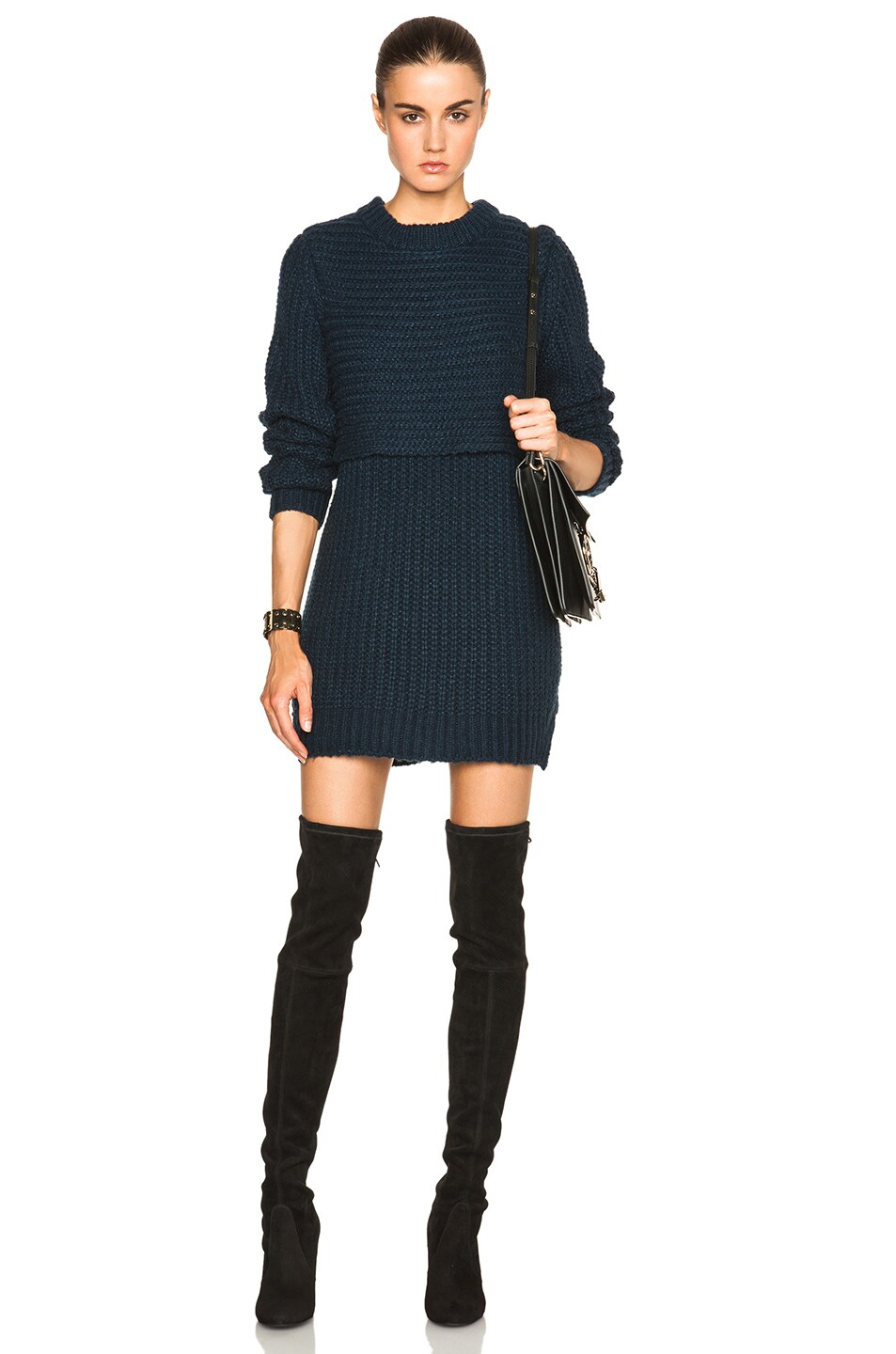 Image 1 of Mason by Michelle Mason Double Layer Sweater Dress in Navy