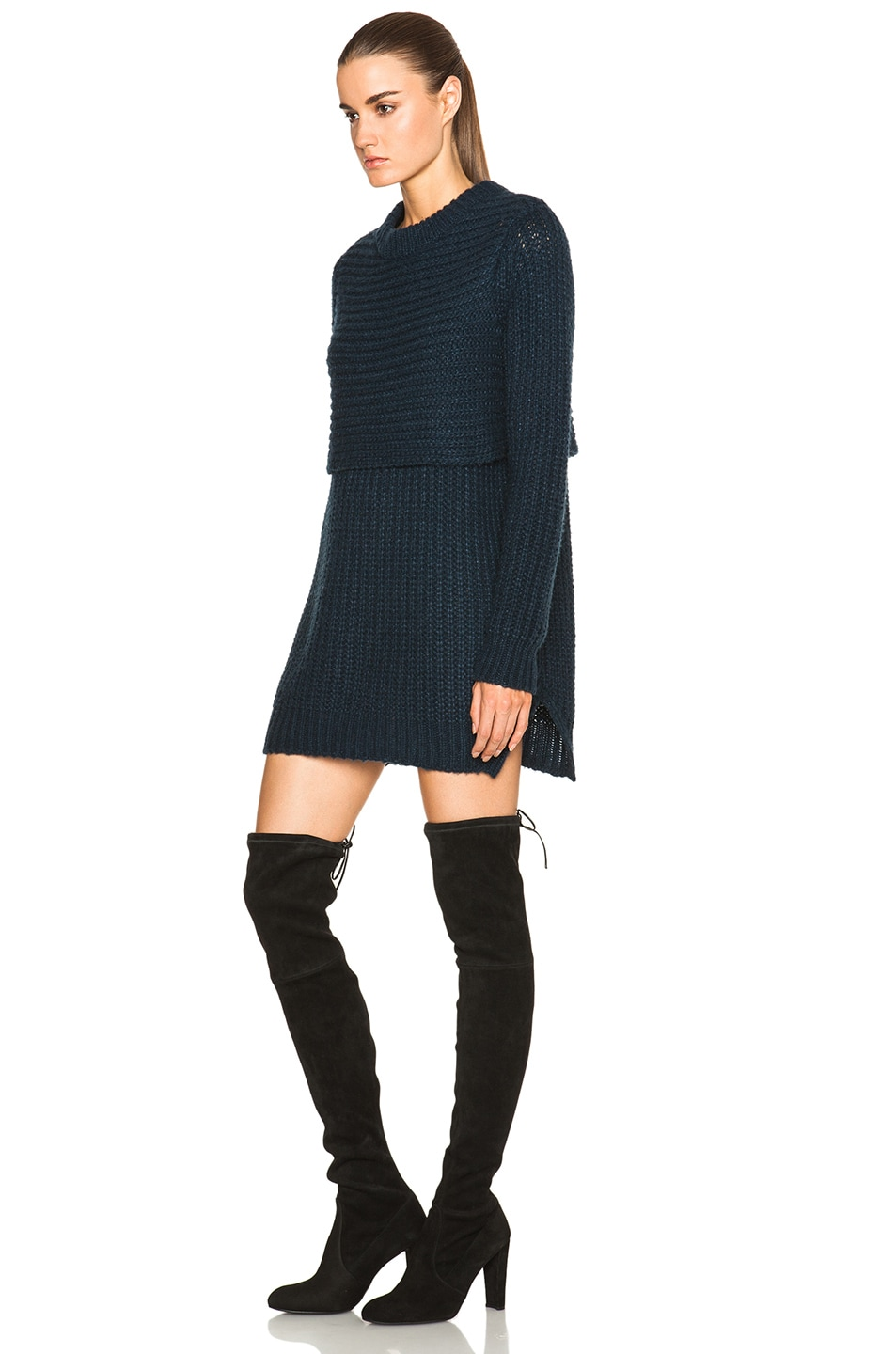 Image 2 of Mason by Michelle Mason Double Layer Sweater Dress in Navy