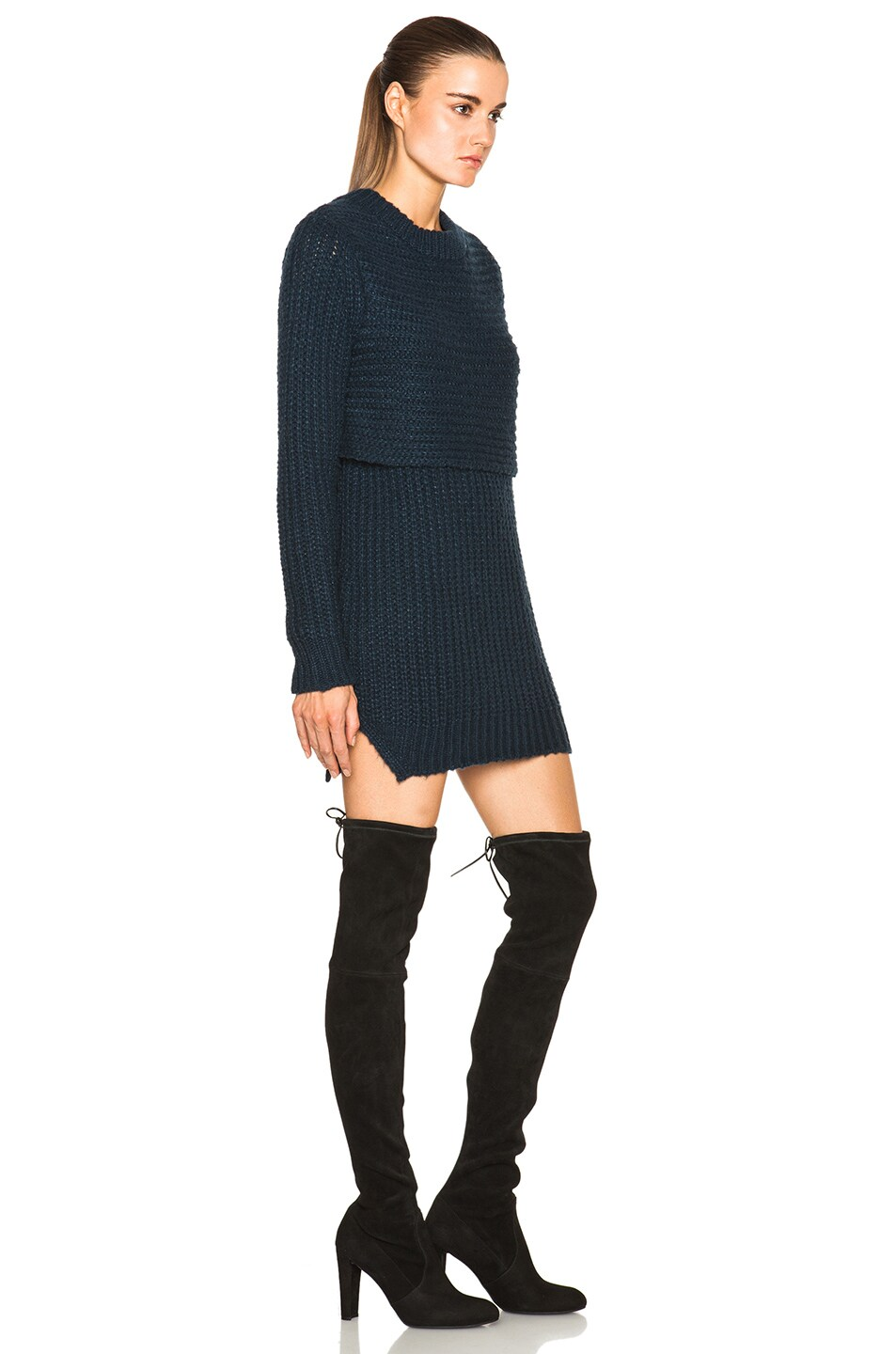 Image 3 of Mason by Michelle Mason Double Layer Sweater Dress in Navy