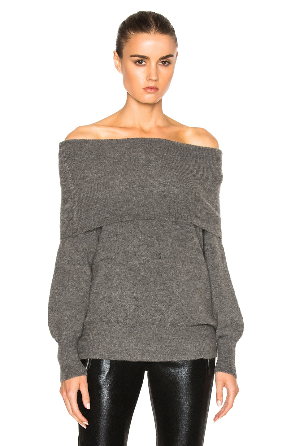Michelle Mason Off Shoulder Sweater in Grey | FWRD