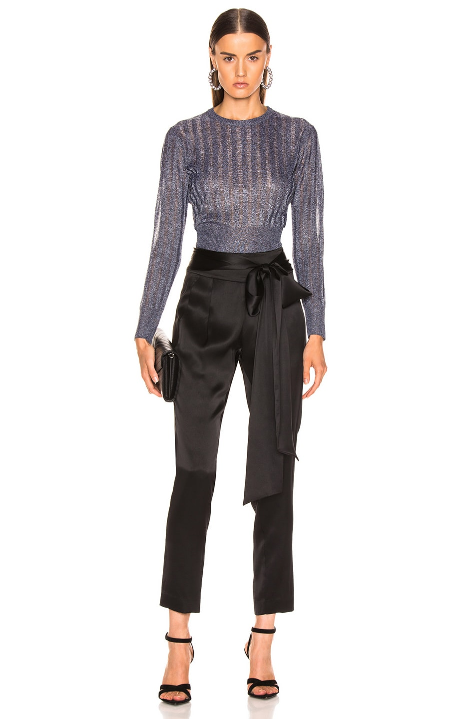 Image 4 of Michelle Mason Cropped Sweater in Black Metallic