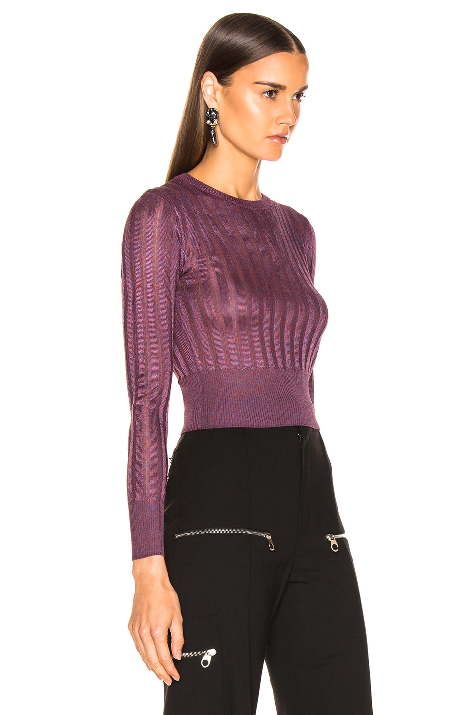Image 2 of Michelle Mason Cropped Sweater in Cayenne