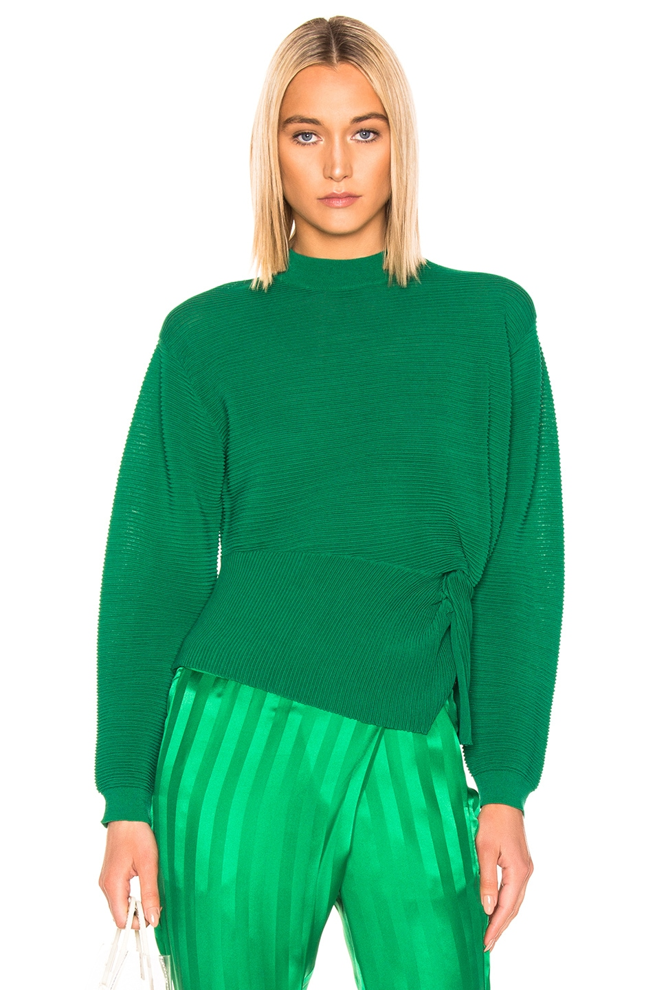 Image 1 of Michelle Mason Long Sleeve Twist Sweater in Green