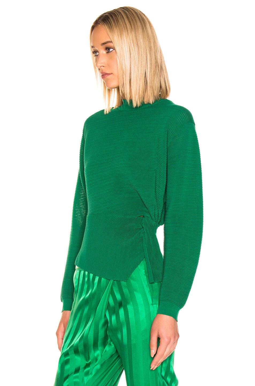 Image 3 of Michelle Mason Long Sleeve Twist Sweater in Green