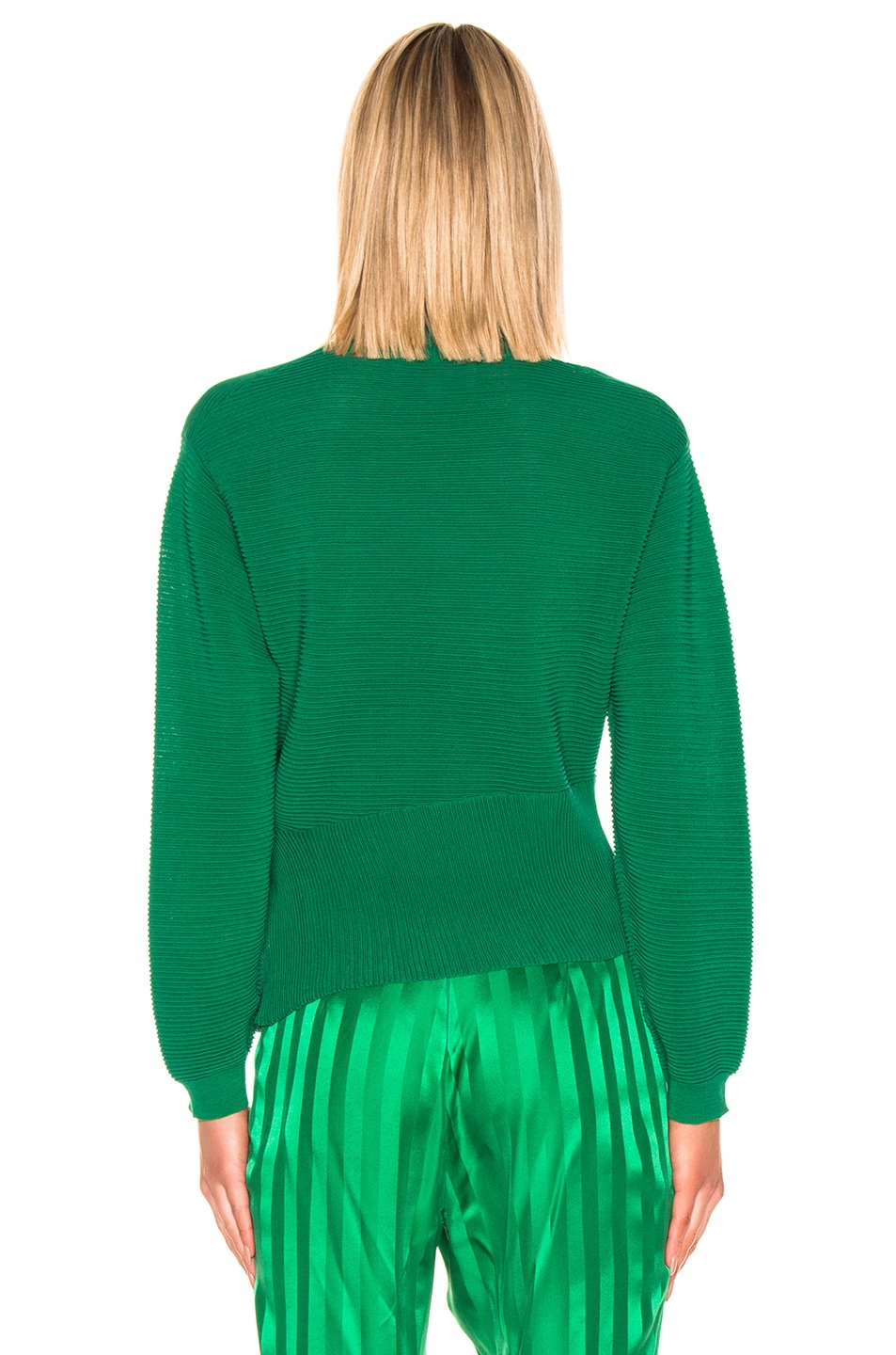 Image 4 of Michelle Mason Long Sleeve Twist Sweater in Green