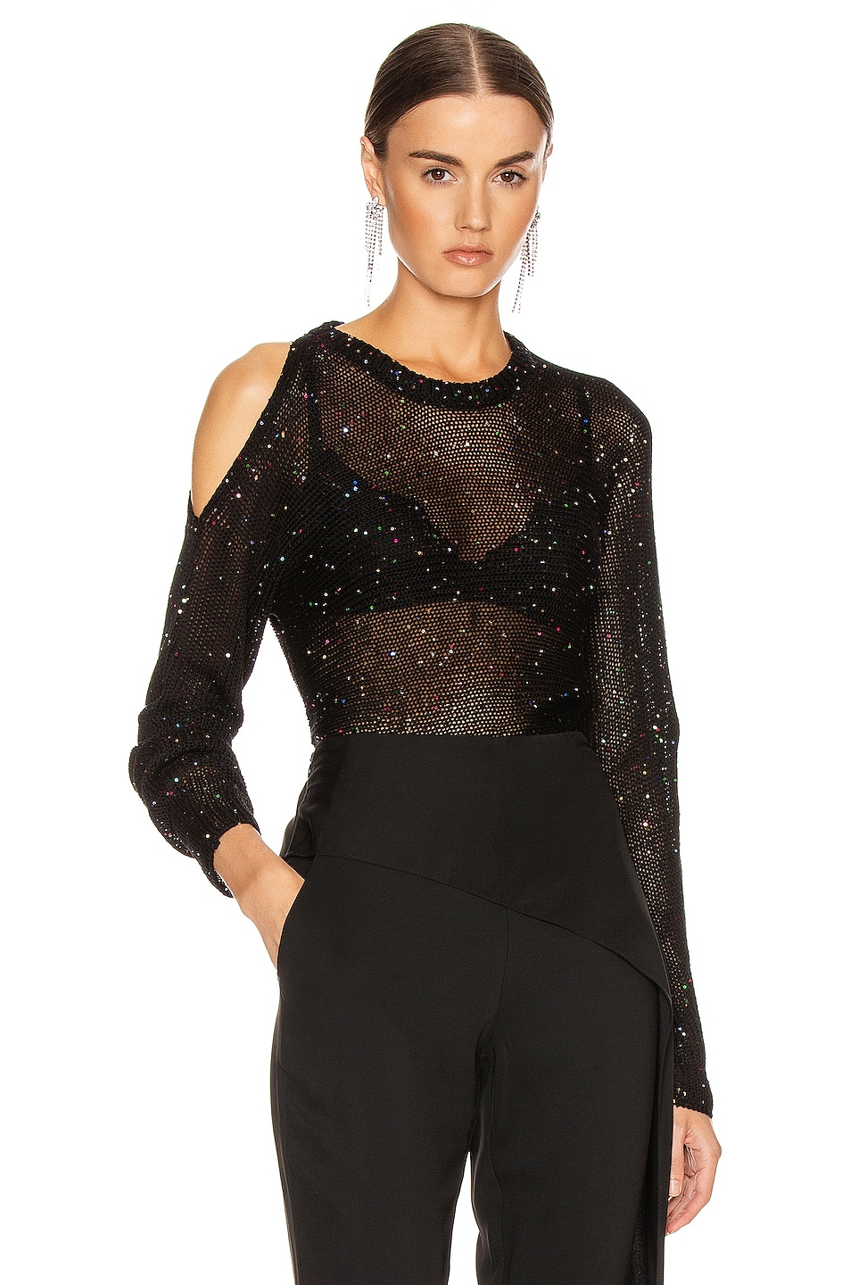 Image 1 of Michelle Mason Open Shoulder Sweater in Black Multi