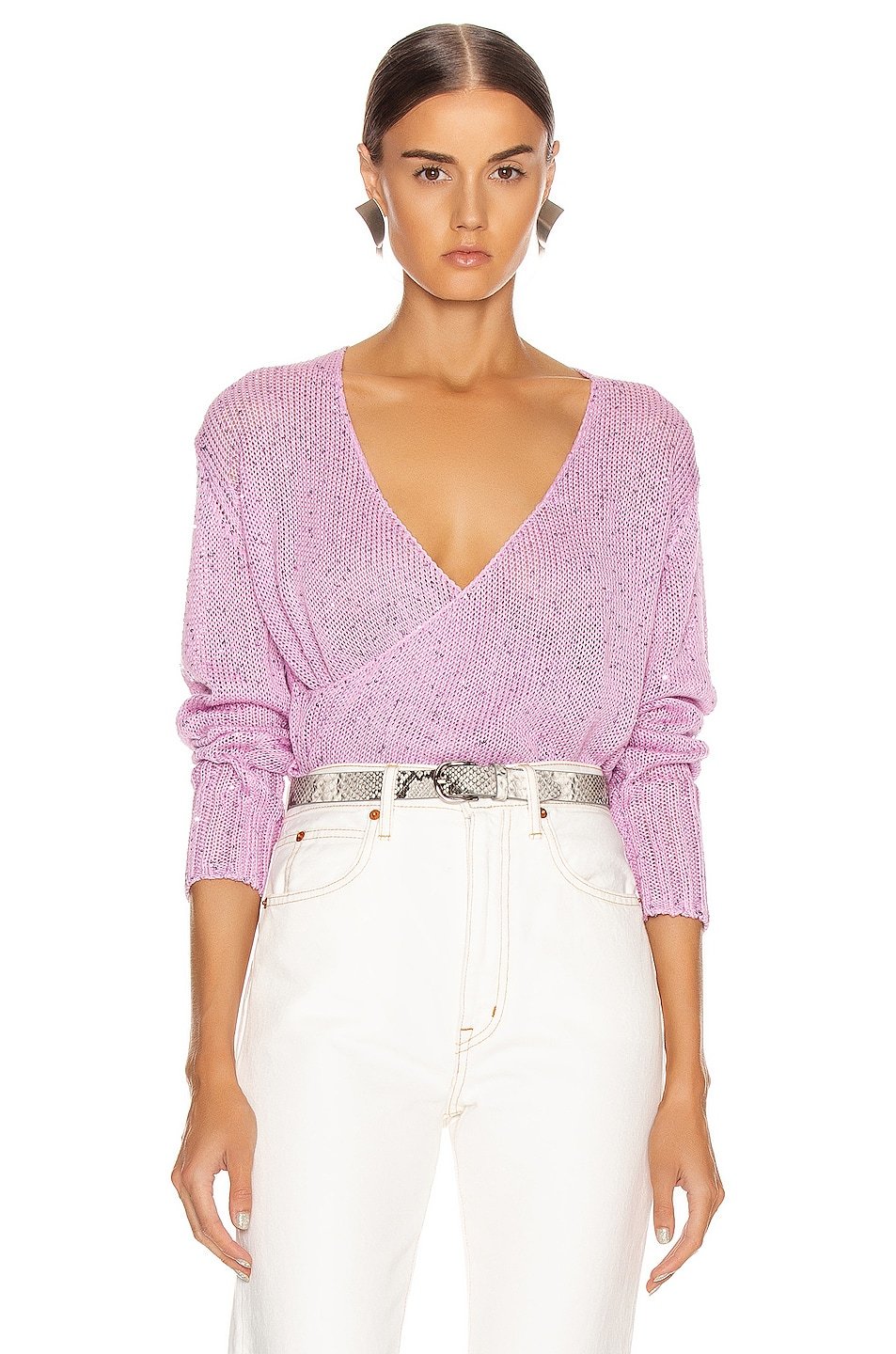 Image 1 of Michelle Mason Cross Wrap Sweater in Bubblegum