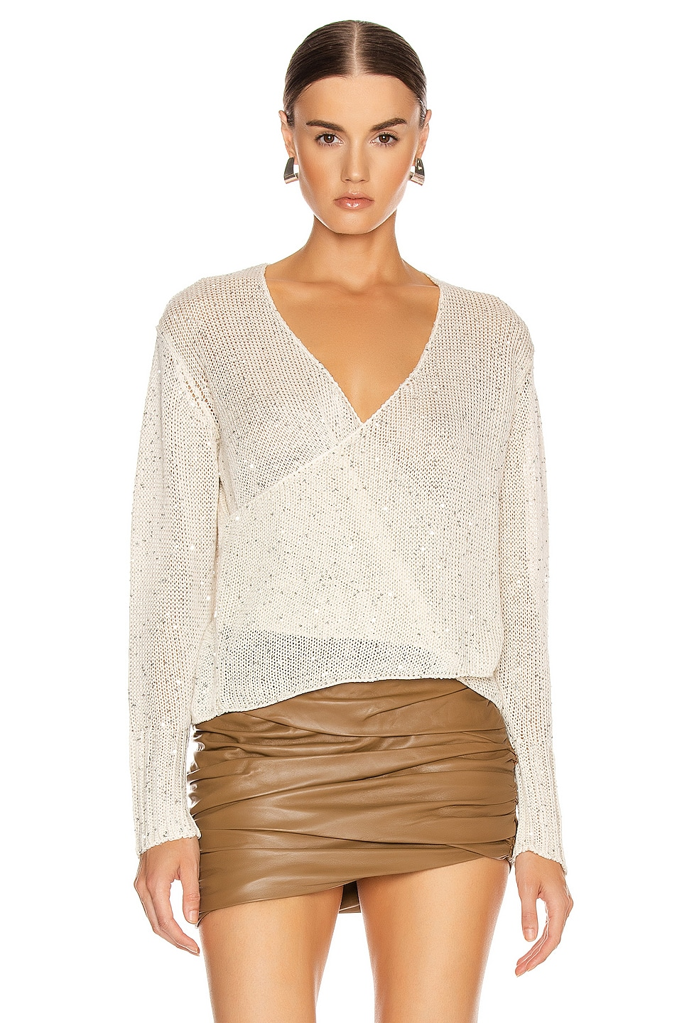 Image 2 of Michelle Mason Cross Wrap Sweater in Ivory