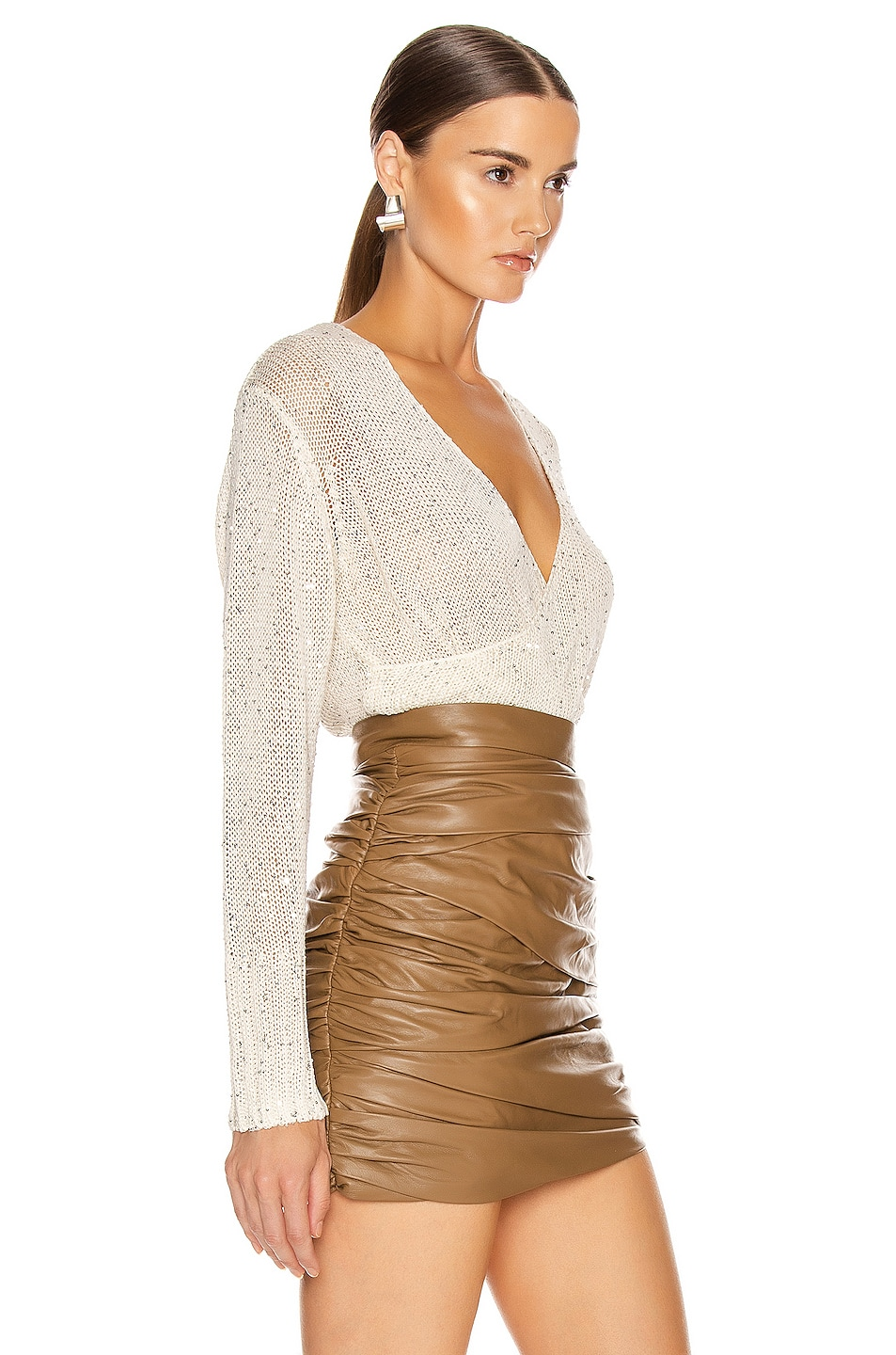 Image 3 of Michelle Mason Cross Wrap Sweater in Ivory