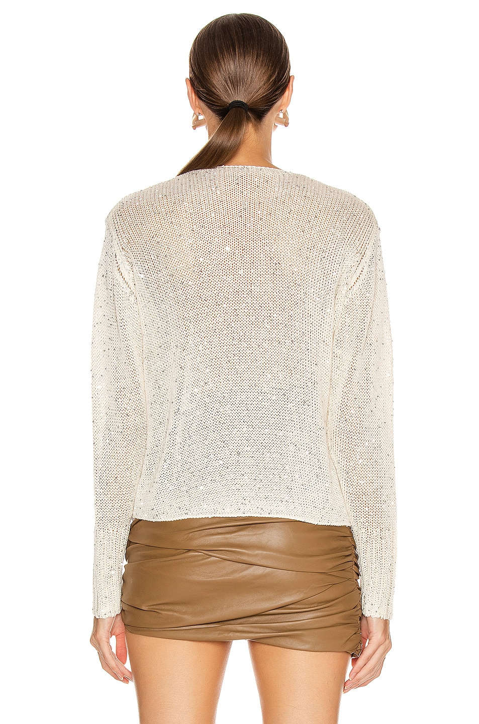 Image 4 of Michelle Mason Cross Wrap Sweater in Ivory