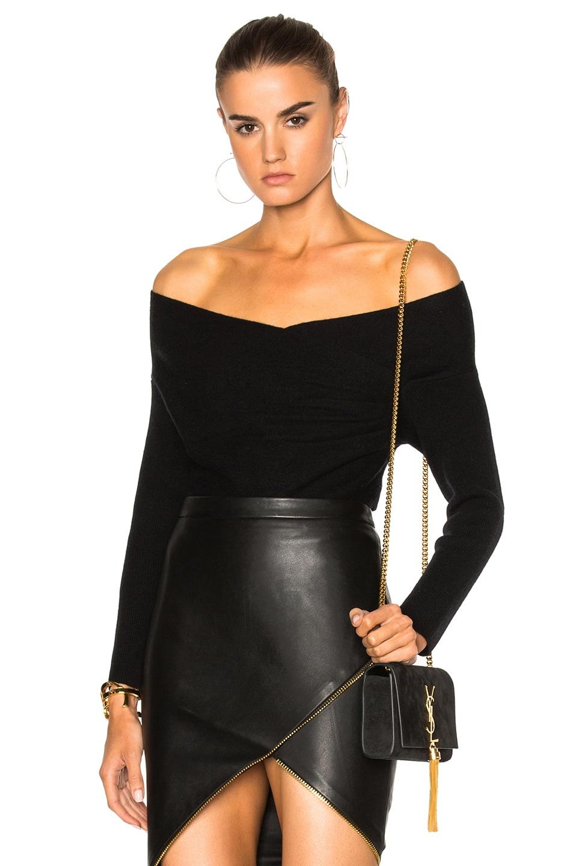 Image 1 of Michelle Mason Cross Wrap Sweater in Black
