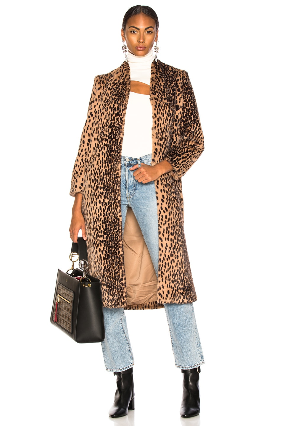 Image 1 of Michelle Mason Faux Fur Coat in Champagne Leopard