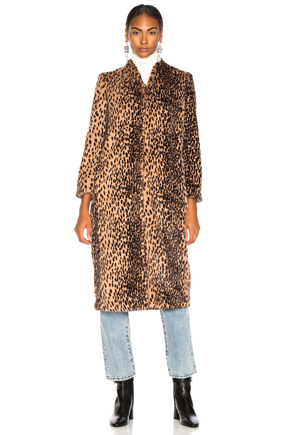 Image 2 of Michelle Mason Faux Fur Coat in Champagne Leopard