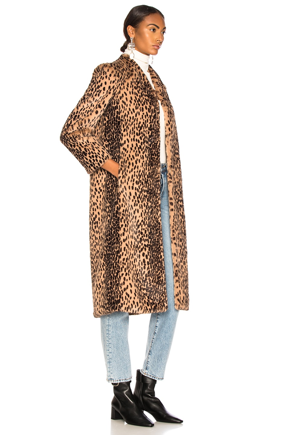Image 3 of Michelle Mason Faux Fur Coat in Champagne Leopard