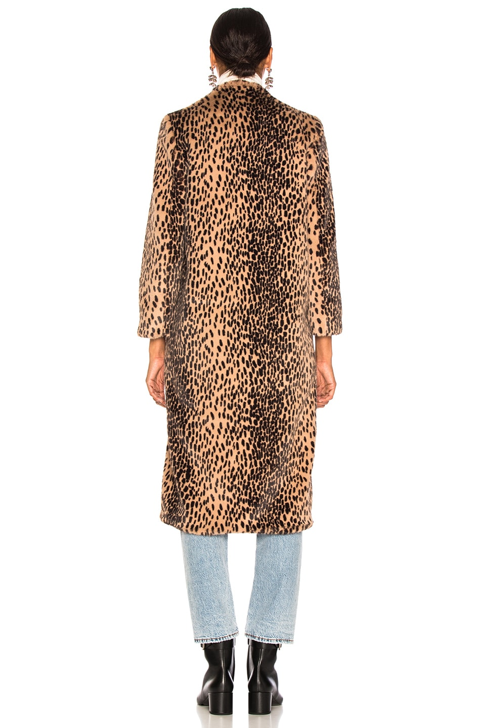 Image 4 of Michelle Mason Faux Fur Coat in Champagne Leopard