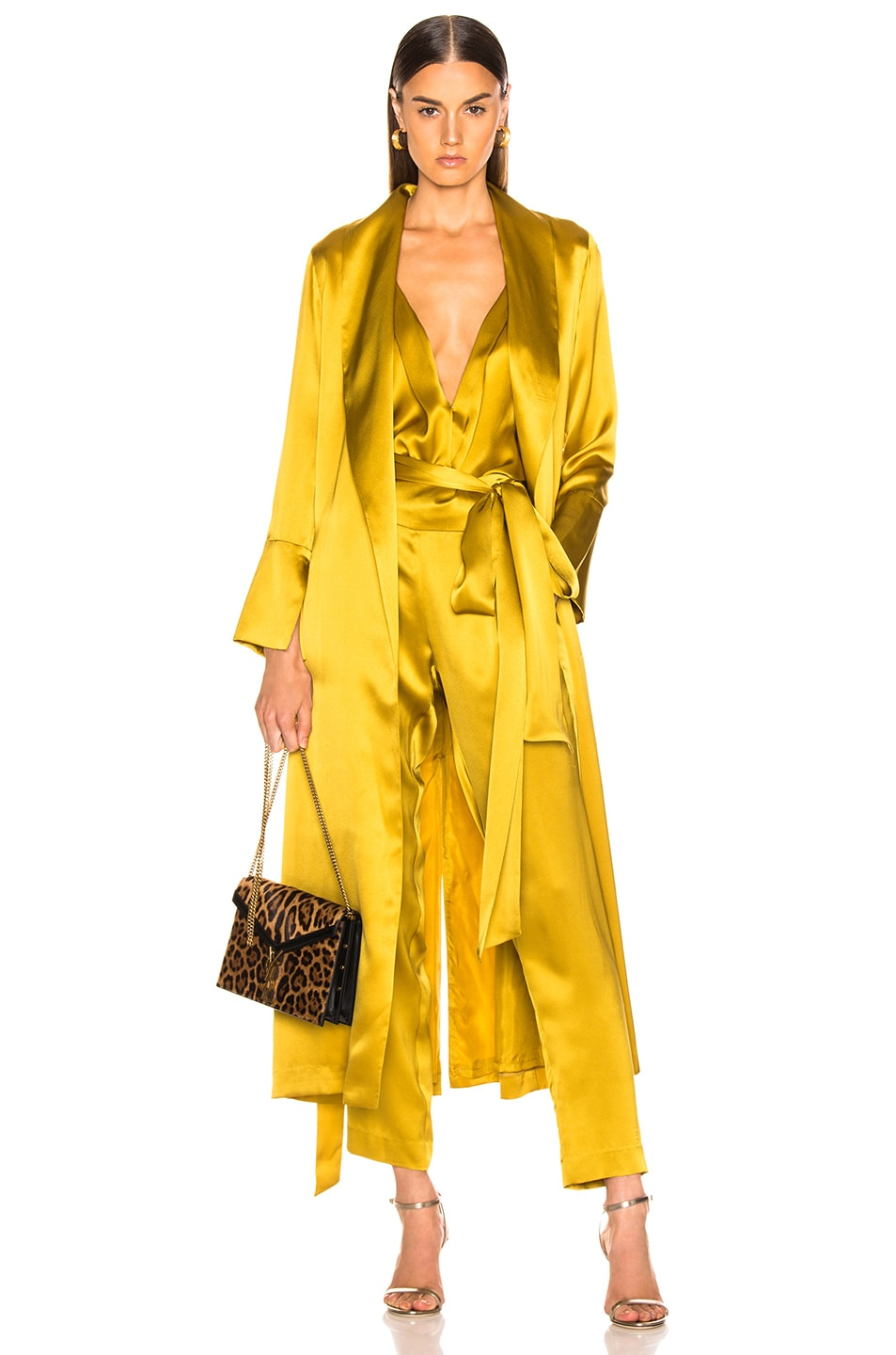 Image 1 of Michelle Mason Trench Coat With Flare Cuffs in Citron