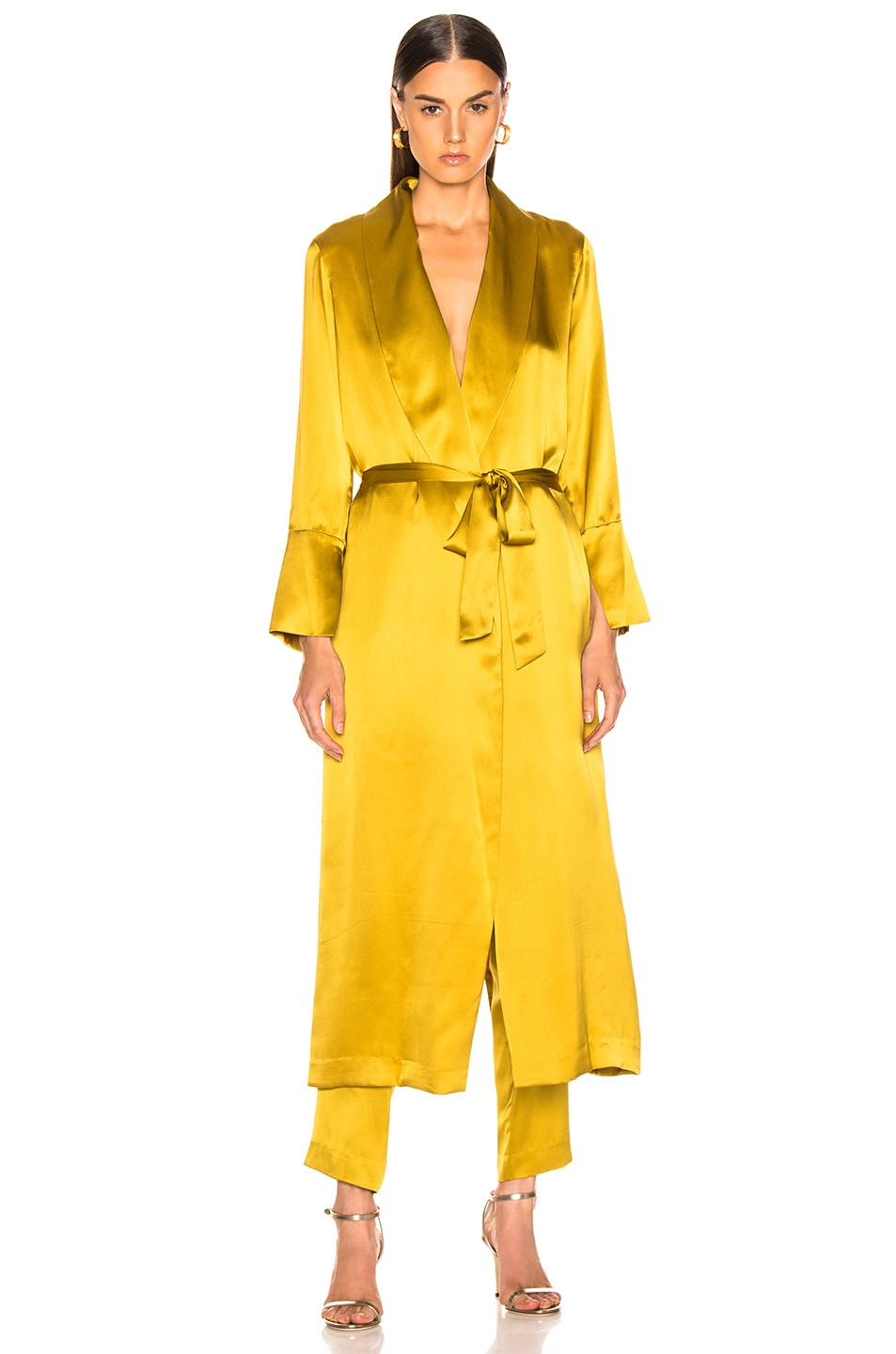 Image 2 of Michelle Mason Trench Coat With Flare Cuffs in Citron